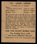 1948 Bowman #23  Larry Jansen  Back Thumbnail