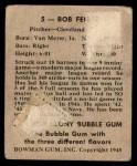 1948 Bowman #5  Bob Feller  Back Thumbnail