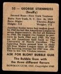 1948 Bowman #35  George Snuffy Stirnweiss  Back Thumbnail