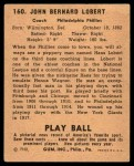 1940 Play Ball #160  Hans Lobert  Back Thumbnail