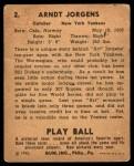 1940 Play Ball #2  Art Jorgens  Back Thumbnail