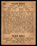 1940 Play Ball #45  Red Kress  Back Thumbnail