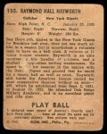 1940 Play Ball #155  Ray Hayworth  Back Thumbnail
