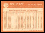 1964 Topps #205  Nellie Fox  Back Thumbnail