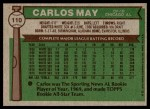 1976 Topps #110  Carlos May  Back Thumbnail