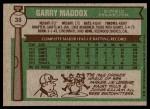 1976 Topps #38  Garry Maddox  Back Thumbnail