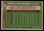 1976 Topps #505  Mark Belanger  Back Thumbnail