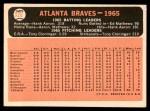 1966 Topps #326 DOT  Braves Team Back Thumbnail