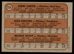 1972 Topps #724   -  John Curtis / Rich Hinton / Mickey Scott AL Rookies - Pitchers Back Thumbnail
