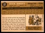 1960 Topps #27  Dick Drott  Back Thumbnail