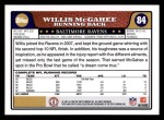 2008 Topps #84  Willis McGahee  Back Thumbnail