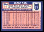 1984 Topps Traded #88  Jorge Orta  Back Thumbnail