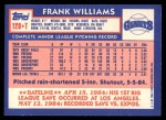 1984 Topps Traded #128  Frank Williams  Back Thumbnail