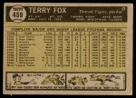 1961 Topps #459  Terry Fox  Back Thumbnail