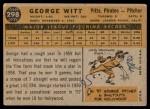 1960 Topps #298  George Witt  Back Thumbnail