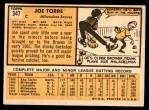 1963 Topps #347  Joe Torre  Back Thumbnail
