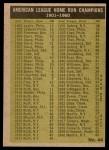 1961 Topps #44   -  Mickey Mantle / Roger Maris / Rocky Colavito / Jim Lemon AL HR Leaders Back Thumbnail