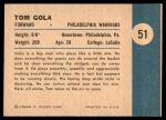 1961 Fleer #51   -  Tom Gola In Action Back Thumbnail