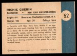 1961 Fleer #52   -  Richie Guerin In Action Back Thumbnail