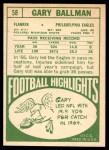 1968 Topps #58  Gary Ballman  Back Thumbnail