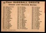 1961 Fleer #89   -  George Sisler / Pie Traynor Checklist Back Thumbnail