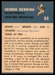 1962 Fleer #44  George Herring  Back Thumbnail