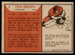 1965 Topps CFL #2  Tom Brown  Back Thumbnail