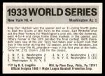 1971 Fleer World Series #31   1933 Giants / Senators  Back Thumbnail