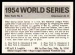 1971 Fleer World Series #52   1954 Giants / Indians Back Thumbnail