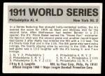 1971 Fleer World Series #9   1911 Giants / A's Back Thumbnail