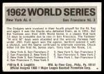 1971 Fleer World Series #60   1962 Yankees / Giants Back Thumbnail
