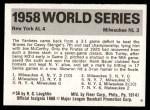 1971 Fleer World Series #56   -  Hank Bauer 1958 Yankees / Braves  Back Thumbnail