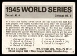 1971 Fleer World Series #43   -  Hank Greenberg 1945 Tigers / Cubs  Back Thumbnail