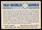 1970 Fleer World Series #18   1921 Giants vs. Yankees   Back Thumbnail