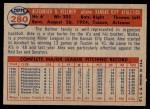 1957 Topps #280  Alex Kellner  Back Thumbnail