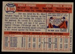 1957 Topps #130  Don Newcombe  Back Thumbnail