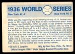 1970 Fleer World Series #33   1936 Yankees vs. Giants Back Thumbnail