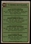 1974 Topps #598   -  Ken Griffey / Dave Augustine / Steve Ontiveros / Jim Tyrone Rookie Outfielders    Back Thumbnail