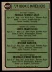 1974 Topps #600   -  Bill Madlock / Ron Cash / Jim Cox / Reggie Sanders Rookie Infielders   Back Thumbnail