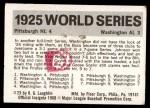1971 Fleer World Series #23   -  Walter Johnson 1925 Pirates / Senators Back Thumbnail