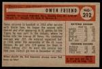 1954 Bowman #212 ALL Owen Friend  Back Thumbnail