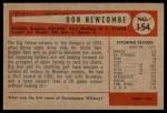 1954 Bowman #154  Don Newcombe  Back Thumbnail