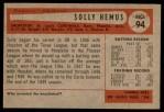 1954 Bowman #94 ALL Solly Hemus  Back Thumbnail