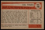 1954 Bowman #78  Sal Yvars  Back Thumbnail