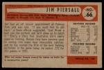 1954 Bowman #66 JIM Jimmy Piersall  Back Thumbnail