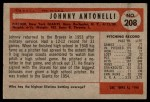 1954 Bowman #208  Johnny Antonelli  Back Thumbnail