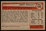1954 Bowman #163 A Dave Philley  Back Thumbnail