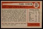 1954 Bowman #67 ERR1 Carl Scheib  Back Thumbnail