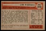 1954 Bowman #210  Jimmy Piersall  Back Thumbnail