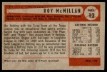 1954 Bowman #12 ERR Roy McMillan  Back Thumbnail